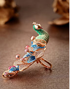 Priyaasi Rose Gold-Plated Peacock Inspired Meenakari Adjustable Ring in Green and Blue Color