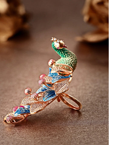 Rose Gold-Plated Peacock Inspired Meenakari Adjustable Ring in Green and Blue Color