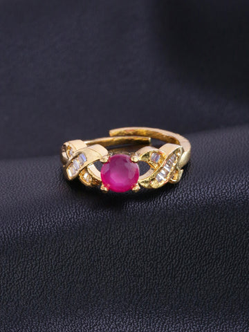 Gold-Plated American Diamond & Ruby Stone Studded Adjustable Ring
