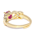 Priyaasi Gold-Plated American Diamond & Ruby Stone Studded Adjustable Ring