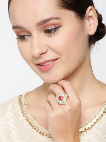 Gold-Plated American Diamond and Ruby Studded Adjustable Ring in Floral Pattern