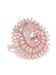 Rose Gold-Plated Peacock Inspired Adjustable Ring Studded with American Diamond