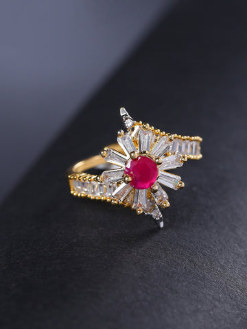 Pink Gold-Plated American Diamond And Ruby Studded Adjustable Ring in Floral Pattern