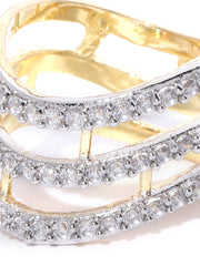 Gold-Plated American Diamond Studded Adjustable Ring