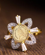 Priyaasi Gold-Plated American Diamond Studded Adjustable Ring in Floral Pattern