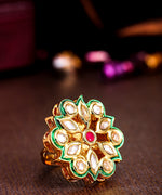 Priyaasi Gold-Plated Kundan & Ruby Studded Adjustable Ring in Floral Pattern