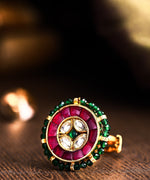 Priyaasi Golden Pachi Kundan & Ruby Studded Adjustable Ring with Green Beads