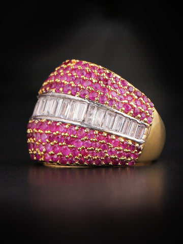Gold-Plated American Diamond And Ruby Studded Ring