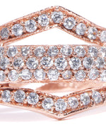 Rose Gold Plated American Diamond Studded Adjustable Finger Ring
