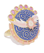 Priyaasi Gold-Plated Ruby Studded Floral Patterned Adjustable Meenakari Ring in Blue and Pink Color