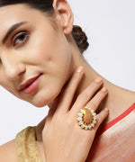 Gold-Plated Ruby Studded Paisley Patterned Adjustable Meenakari Ring in Green and Red Color