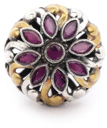 Priyaasi Dual Toned Ruby Studded Rotatating Floral Adjustable Ring
