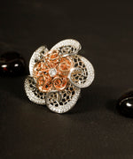 Rose Gold and Silver Plated AD Studded Finger Ring