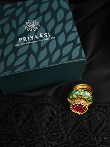 Green Ruby Gold Plated Ring