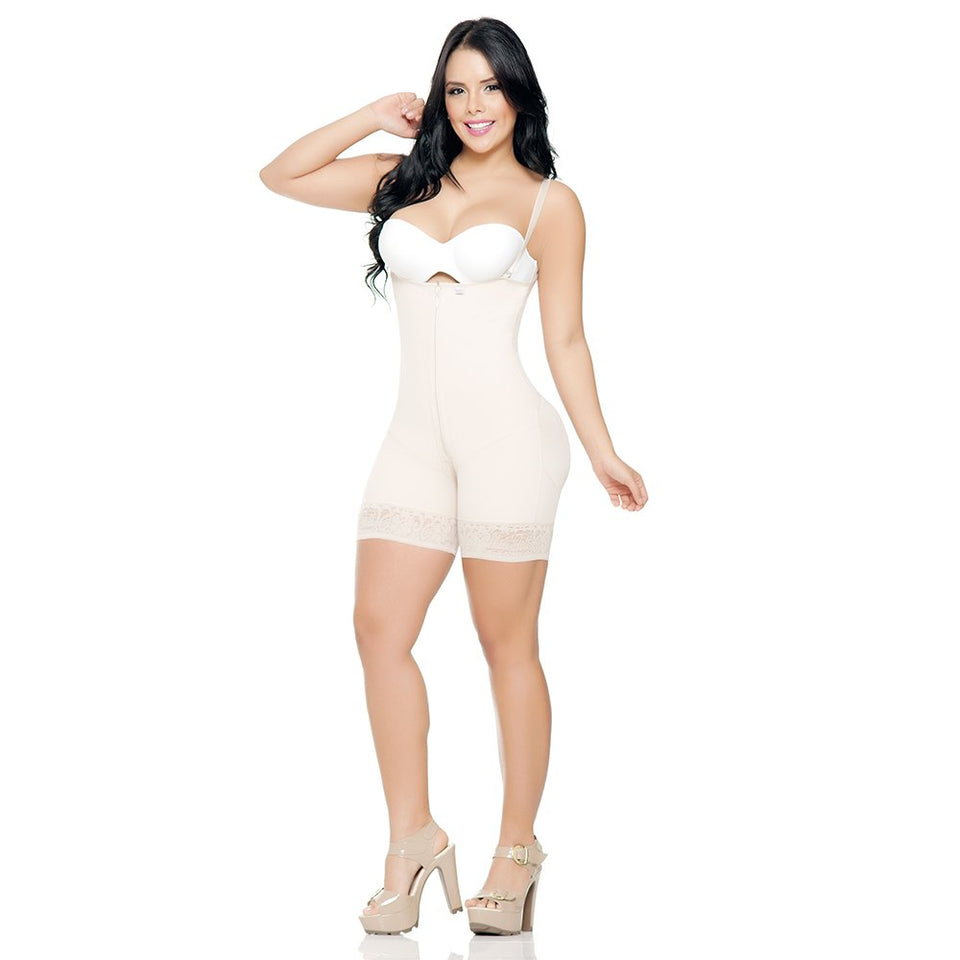 Shapewear Bodysuit- Firm Compression Girdle - Mid Thigh Bodysuit| Melibelt Fajas 2012 Violet