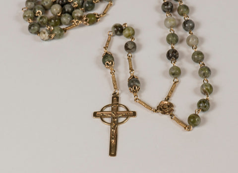 Our Lady of Knock Full Rosary: Golden Rose with Connemara Marble