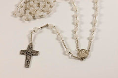 Pope Francis Full Rosary: Sterling Silver with Rainbow Moonstone