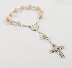 Pope Francis Pocket Rosary: Stainless Steel with Creamy Riverstone