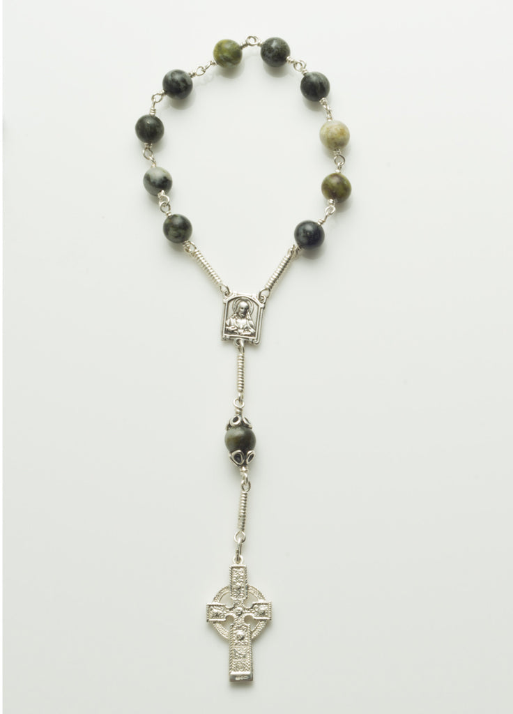 Ahenny High Cross: Sterling Silver with Connemara Marble