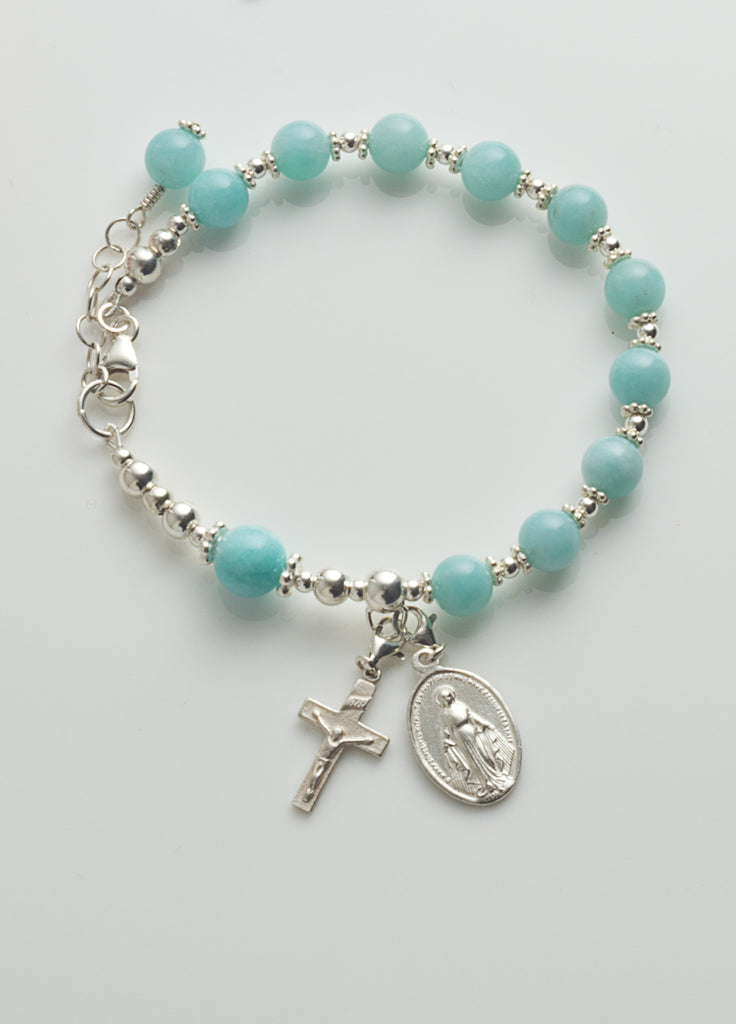 Rosary Bracelet: Sterling Silver with Amazonite