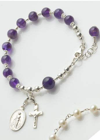 Rosary Bracelet: Sterling Silver with Amethyst