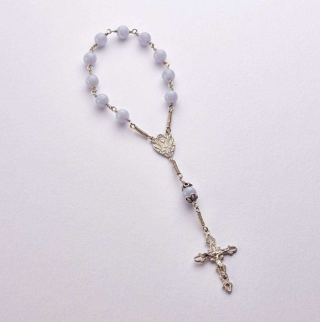 Pocket Communion Rosary: Sterling Silver with Blue Lace Agate