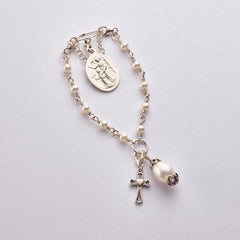 Blanket Rosary Pin: Sterling Silver with Freshwater Pearl