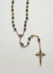 Full Rosary NeoCeltic Cross: Bronze with Connemara Marble