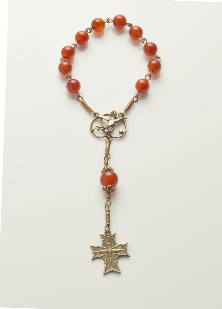 Pocket Confirmation Rosary: Bronze with Carnelian