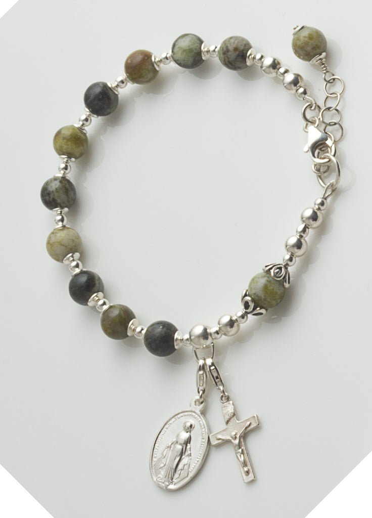 Rosary Bracelet: Sterling Silver with Connemara Marble