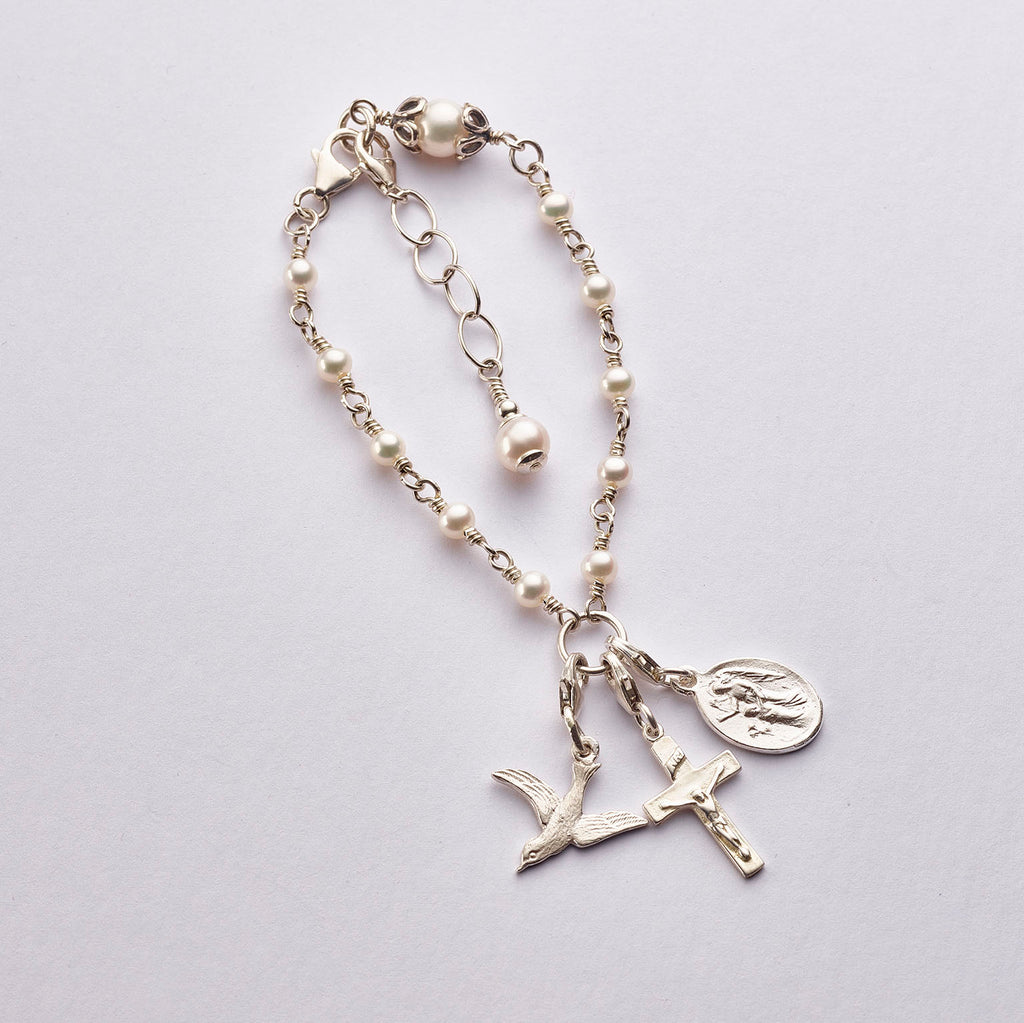Child CONFIRMATION Rosary Bracelet: Sterling Silver with Freshwater Pearl