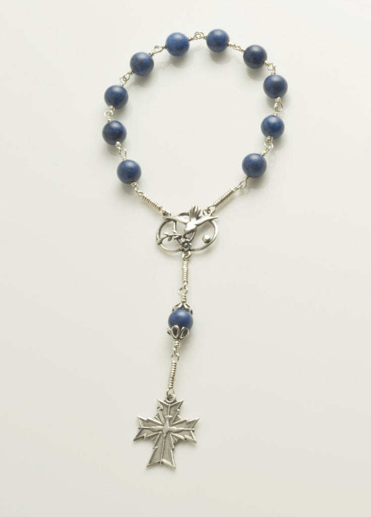 Pocket Confirmation Rosary: Silver with Dumortierite