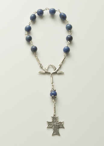 Pocket Confirmation Rosary 2: Silver with Dumortierite