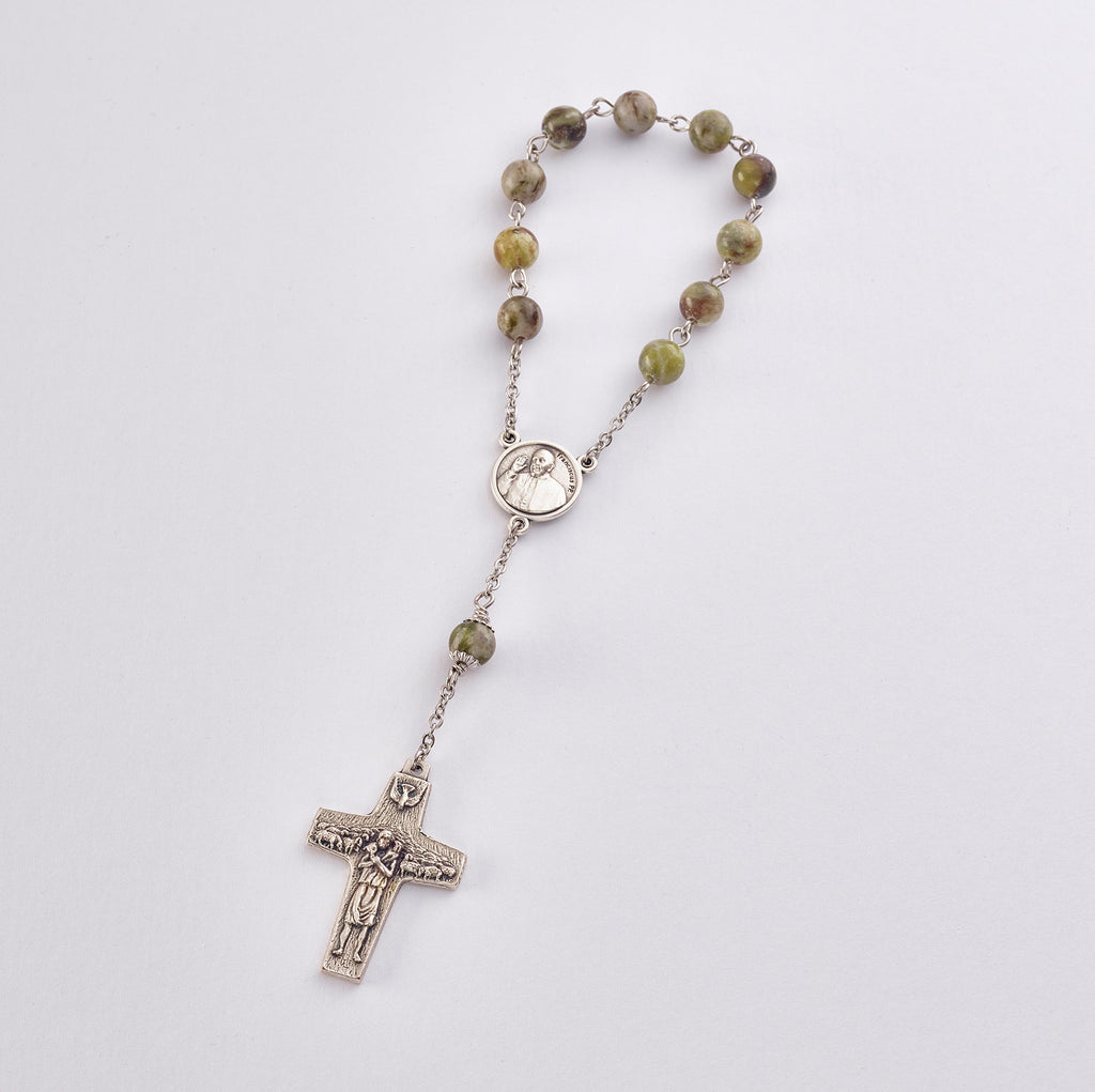 Pope Francis Pocket Rosary: Stainless Steel with Connemara Marble