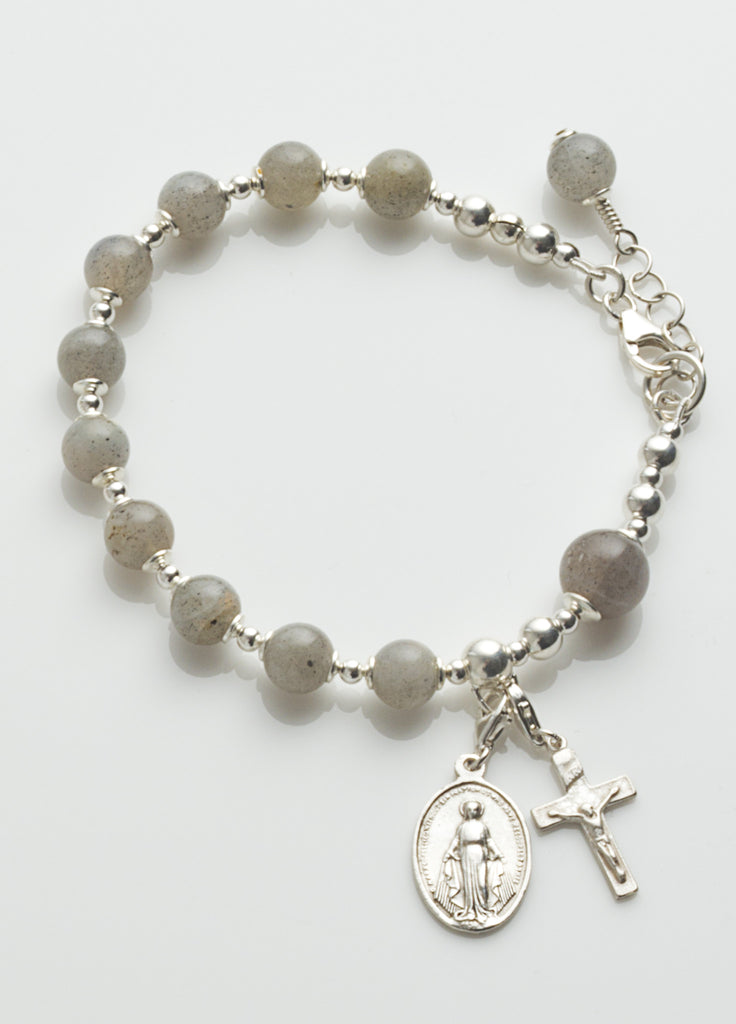 Rosary Bracelet: Sterling Silver with Labradorite