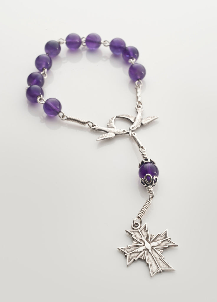 Pocket Confirmation Rosary 2: Silver with Amethyst
