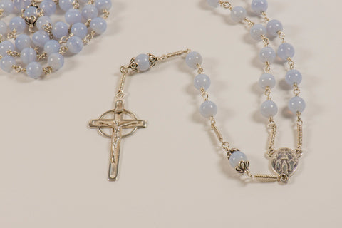Our Lady of Knock Full Rosary: Sterling Silver with Blue Chalcedony