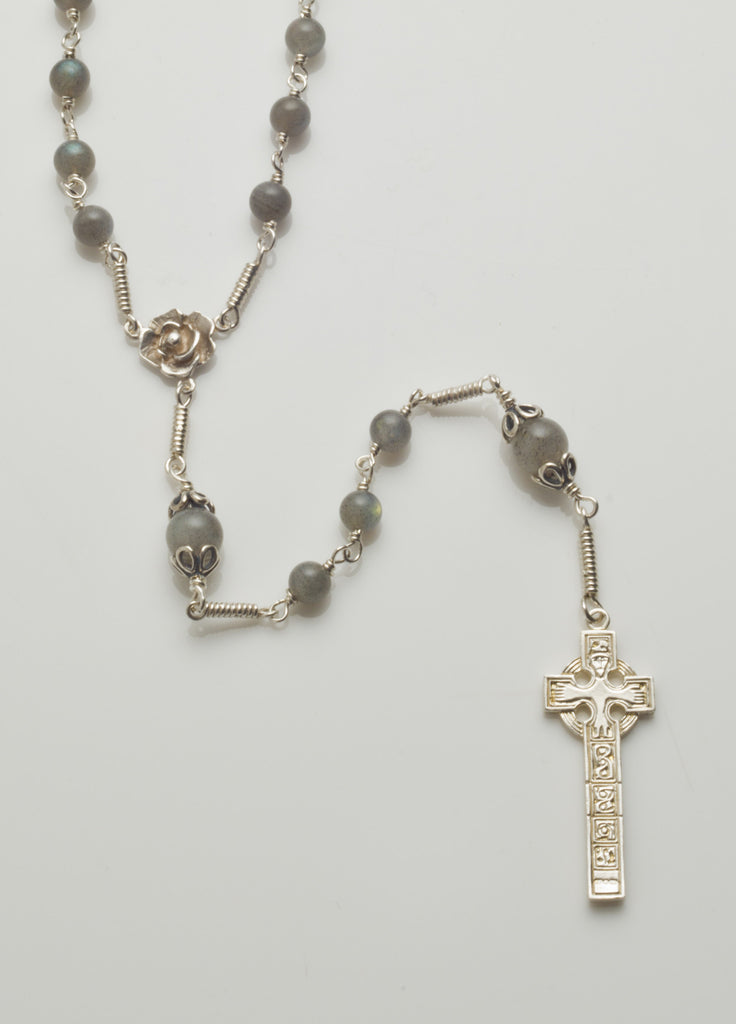 Moone High Cross: Sterling Silver with Labradorite