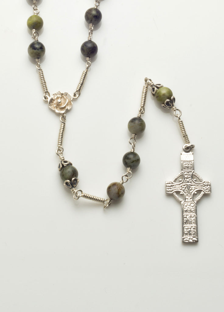 Muiredeach High Cross: Sterling Silver with Connemara Marble