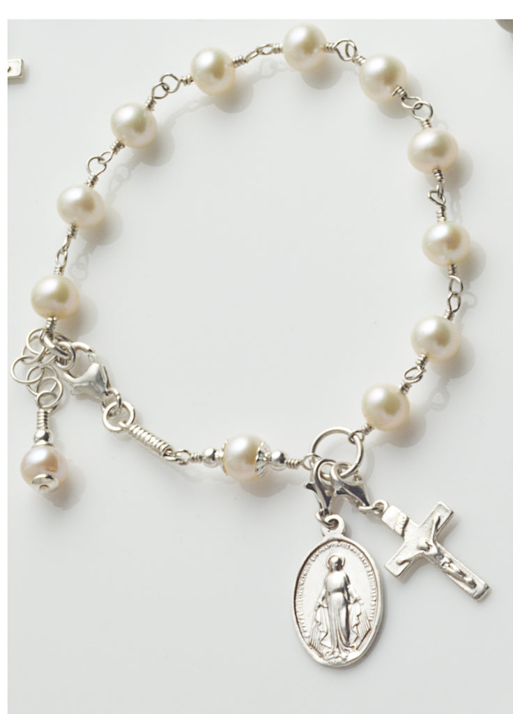 Rosary Bracelet: Sterling Silver with Freshwater Pearl