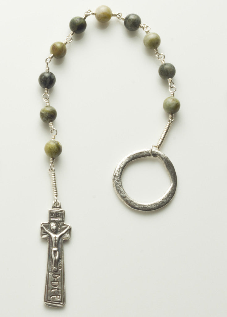 Penal Rosary: Sterling Silver with Connemara Marble