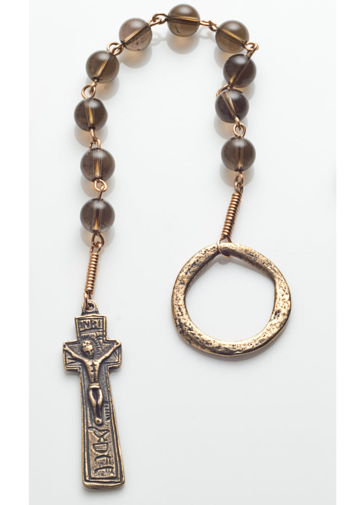 Penal Rosary: Bronze with Smoky Quartz