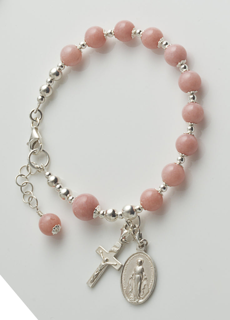 Rosary Bracelet: Sterling Silver with Pink Opal