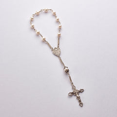 Pocket Communion Rosary: Sterling Silver with Freshwater Pearls