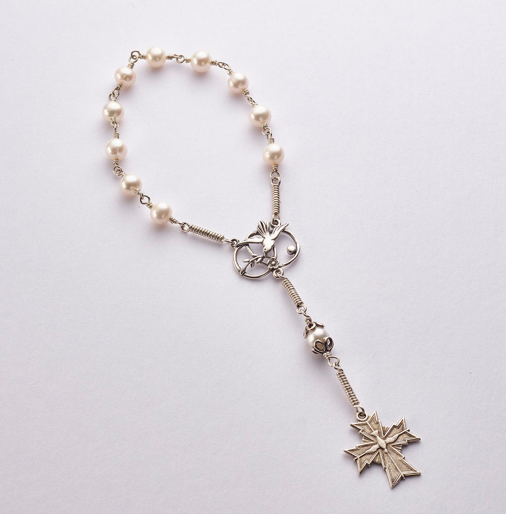 Pocket Confirmation Rosary: Silver with Freshwater Pearl