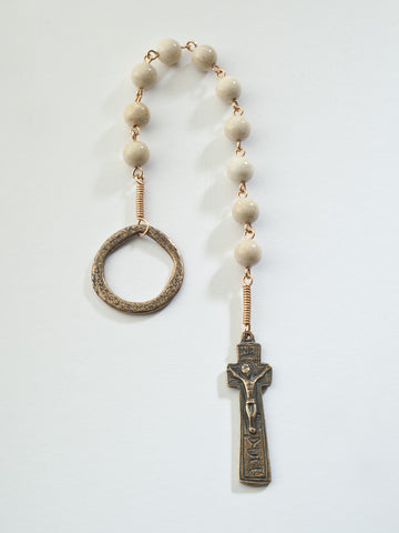 Penal Rosary: Bronze with Creamy Riverstone