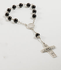 Pope Francis Pocket Rosary: Stainless Steel with Black Onyx