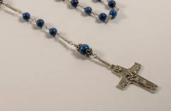 Pope Francis Full Rosary: Sterling Silver with Dumortierite