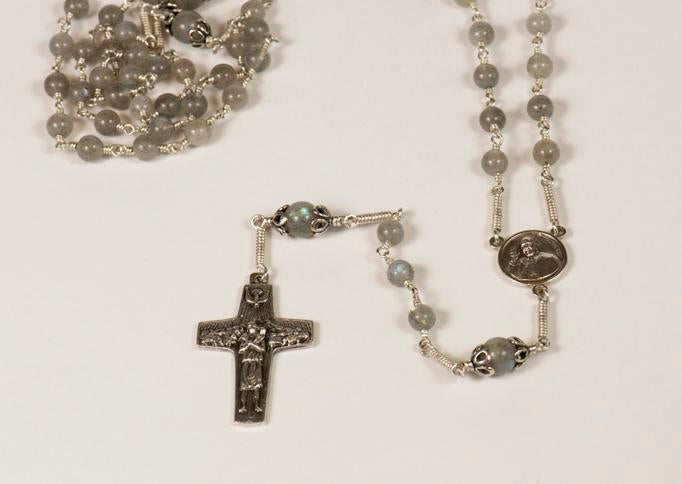 Pope Francis Full Rosary: Sterling Silver with Labradorite