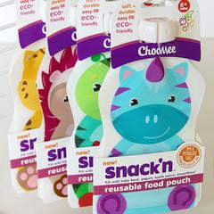 ChooMee Snack'n Reusable Pouche + Sip'n Top - Single | Holds 5 oz.